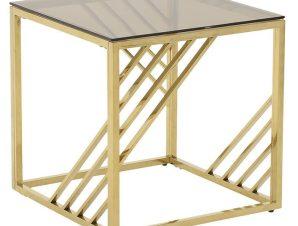 Τραπέζι σαλονιού μεταλλικό-γυάλινο σε χρυσό χρώμα 55x55x55