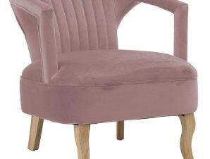 Πολυθρόνα βελούδινη σε ροζ χρώμα 63x73x75