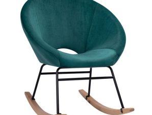 """Πολυθρόνα """"PAULINA"""" κουνιστή υφασμάτινη σε χρώμα κυπαρισσί 76x86x76"""