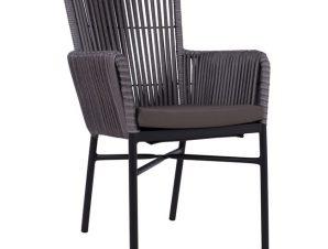 Πολυθρόνα αλουμινίου-wicker σε γκρι-καφέ χρώμα 57x60x90