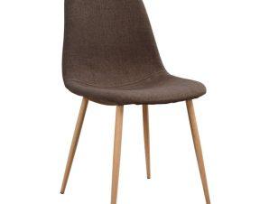 """Καρέκλα """"LEONARDO"""" μεταλλική/υφασμάτινη σε χρώμα καφέ 52x42x82"""