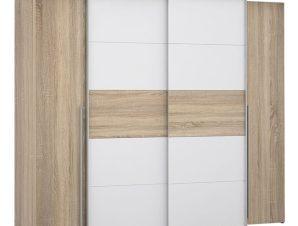 """Ντουλάπα """"LOIS"""" τετράφυλλη συρόμενη σε χρώμα λευκό/σονόμα 271x62x210"""