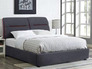 """Κρεβάτι διπλό """"KENDRA"""" από ύφασμα σε χρώμα γκρι/κόκκινο 150×200"""