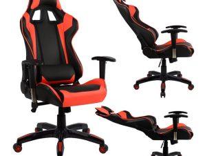 """Πολυθρόνα εργασίας """"GAMING"""" από PU σε χρώμα μαύρο/κόκκινο 67x70x134"""