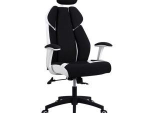 """Πολυθρόνα διευθυντή """"GAMING"""" από ύφασμα σε χρώμα μαύρο/λευκό 65x70x132"""