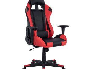 """Πολυθρόνα εργασίας """"GAMING"""" από PU σε χρώμα μαύρο/κόκκινο 68x67x130"""