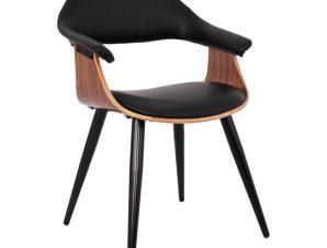 """Πολυθρόνα επισκέπτη """"SUPERIOR PRO"""" από μέταλλο/PU σε χρώμα καρυδί/μαύρο 55x50x82"""