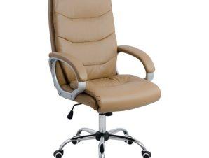 Πολυθρόνα διευθυντή από PU σε χρώμα κάμελ 51x71x123