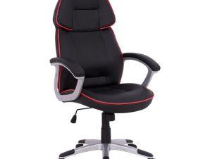 """Πολυθρόνα εργασίας """"BUCKET"""" από PU σε χρώμα μαύρο/κόκκινο 69x68x127"""