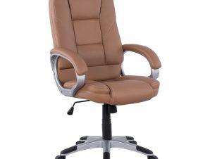 Πολυθρόνα διευθυντή από PU σε χρώμα κάμελ 64x71x118