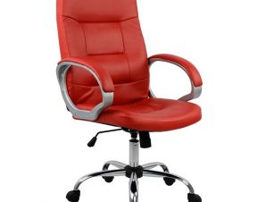 Πολυθρόνα διευθυντή από PU σε χρώμα κόκκινο 64x55x120