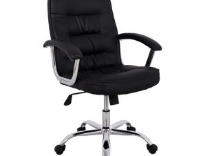 Πολυθρόνα διευθυντή από PU σε χρώμα μαύρο 64x68x104