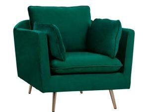 """Πολυθρόνα-μπερζέρα """"KAREN"""" από ύφασμα βελούδο σε χρώμα κυπαρισσί 96x85x95"""
