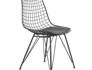 """Καρέκλα """"EZRA"""" από μέταλλο/PU σε χρώμα μαύρο 49x58x83,5"""