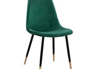 """Καρέκλα """"LUCILLE"""" από βελούδο και μέταλλο σε χρώμα κυπαρισσί 44x50x89"""