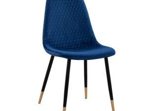 """Καρέκλα """"LUCILLE"""" βελούδινη σε μπλε χρώμα 44Χ50Χ89"""