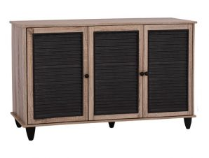 Παπουτσοθήκη-ντουλάπι σε χρώμα σονόμα/μαύρο 112x30x68,5