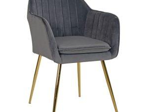 """Πολυθρόνα """"SAWYER"""" από ύφασμα βελούδο/μέταλλο σε χρώμα γκρι/χρυσό 54x53x78"""