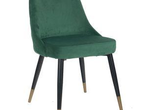 """Καρέκλα """"SERENTIY"""" από ύφασμα βελούδο/μέταλλο σε χρώμα κυπαρισσί/μαύρο 51x58x83"""
