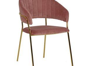 """Πολυθρόνα """"THEODORE"""" από ύφασμα βελούδο/μέταλλο σε χρώμα σάπιο μήλο/χρυσό 55x50x82"""