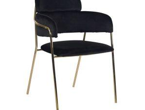 """Πολυθρόνα """"KELSO"""" από ύφασμα βελούδο/μέταλλο σε χρώμα μαύρο/χρυσό 55x53x80"""