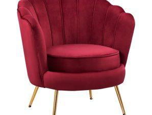 """Πολυθρόνα """"COQUILLE"""" υφασμάτινη σε χρώμα κόκκινο/χρυσό 78x79x84"""