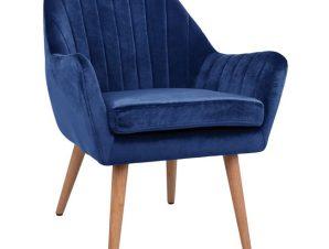 """Πολυθρόνα """"CORENA"""" από βελούδο σε χρώμα μπλε 62x69x74,5"""
