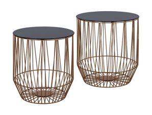 """Τραπέζι ζιγκόν """"CAGE"""" από γυαλί/μέταλλο σε χρώμα μαύρο/χρυσό Φ45×49"""