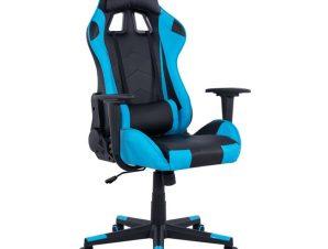 """Πολυθρόνα εργασίας """"GAMING"""" από PU σε χρώμα μαύρο/γαλάζιο 68x67x130"""