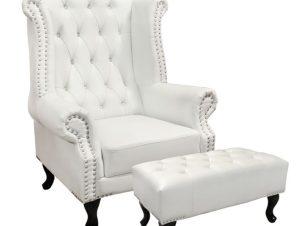 """Σετ πολυθρόνα-μπερζέρα """"POLINA"""" από PU σε χρώμα λευκό ματ 83x75x107"""