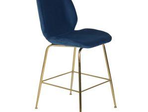 """Σκαμπό μεσαίου ύψους """"NORA"""" από μέταλλο/ύφασμα σε χρώμα χρυσό/μπλε 48x61x103"""