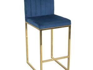 """Σκαμπό μπαρ """"PIPER"""" από μέταλλο/βελούδο σε χρώμα χρυσό/μπλε 40x49x96"""