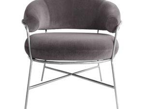 """Πολυθρόνα """"TRUDI"""" από ύφασμα/μέταλλο σε χρώμα γκρι 84x79x74"""