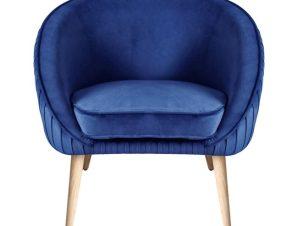 """Πολυθρόνα """"YAJANTI"""" από βελούδο/ξύλο σε χρώμα μπλε 73x67x76"""