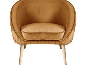 """Πολυθρόνα """"YAJANTI"""" από ξύλο/ύφασμα βελούδο σε χρώμα χρυσό 73x67x76"""