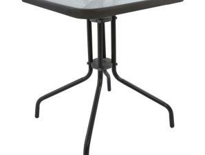 """Τραπέζι """"FIGO"""" από μέταλλο/γυαλί σε χρώμα γκρι 60x60x72"""