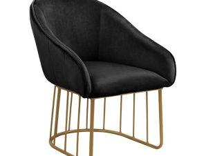 """Πολυθρόνα """"CODY"""" από ύφασμα/μέταλλο σε χρώμα μαύρο/χρυσό 57x60x75"""