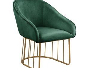 """Πολυθρόνα """"CODY"""" από ύφασμα/μέταλλο σε χρώμα κυπαρισσί/χρυσό 57x60x75"""