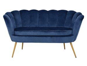 """Καναπές διθέσιος """"COQUILLE"""" από ύφασμα/μέταλλο σε χρώμα μπλε/χρυσό 130x77x83"""