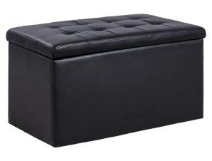 """Σκαμπό-μπαούλο """"PUNK"""" με αποθηκευτικό χώρο από PU σε χρώμα μαύρο 90x50x52"""
