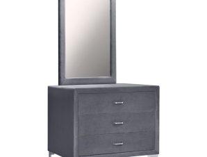 """Τουαλέτα με καθρέπτη """"LYON"""" από βελούδο σε χρώμα γκρι/ασημί 97x56x178"""