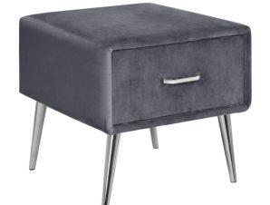 """Κομοδίνο """"ADANTE"""" με συρτάρι από βελούδο/μέταλλο σε χρώμα γκρι/ασημί 45x36x41"""
