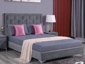 """Κρεβάτι διπλό """"MONTPELLIER"""" από ύφασμα σε χρώμα γκρι 150×200"""