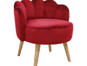 """Σκαμπό με πλάτη """"ELISE"""" από ύφασμα/ξύλο σε χρώμα κόκκινο/φυσικό 55x53x61"""