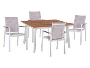 Σετ τραπεζαρίας 5 τμχ από αλουμίνιο/polywood σε χρώμα λευκό/φυσικό 120x80x72,5
