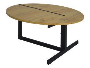 Τραπέζι σαλονιού από mdf/μέταλλο σε χρώμα φυσικό/μαύρο Φ80×43