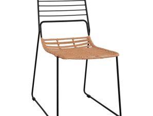"""Καρέκλα """"ALLEGRA"""" από wicker/μέταλλο σε χρώμα μπεζ/μαύρο 51x54x83"""