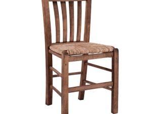 Καρέκλα καφενείου από ξύλο μασίφ/ψάθα σε χρώμα καρυδί 41x35x89