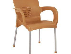 Πολυθρόνα από πολυπροπυλένιο/αλουμίνιο σε χρώμα ξύλου 59x58x81