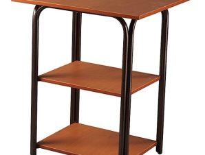 Τραπέζι βοηθητικό τρίπατο μεταλλικό σε χρώμα καφέ 50×60